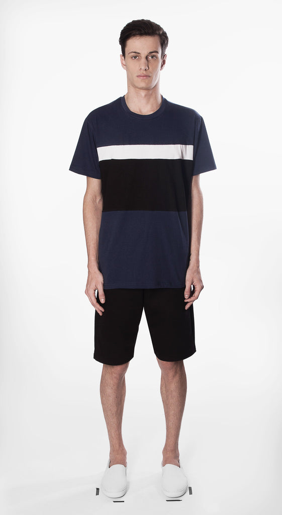 t shirt frank white black stripe movin cotton recycled sustainable