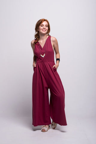 Sofia Jumpsuit Burgundy Short