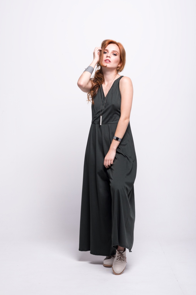 ada_jumpsuit_green_olive_long_v_neck_cut_ana