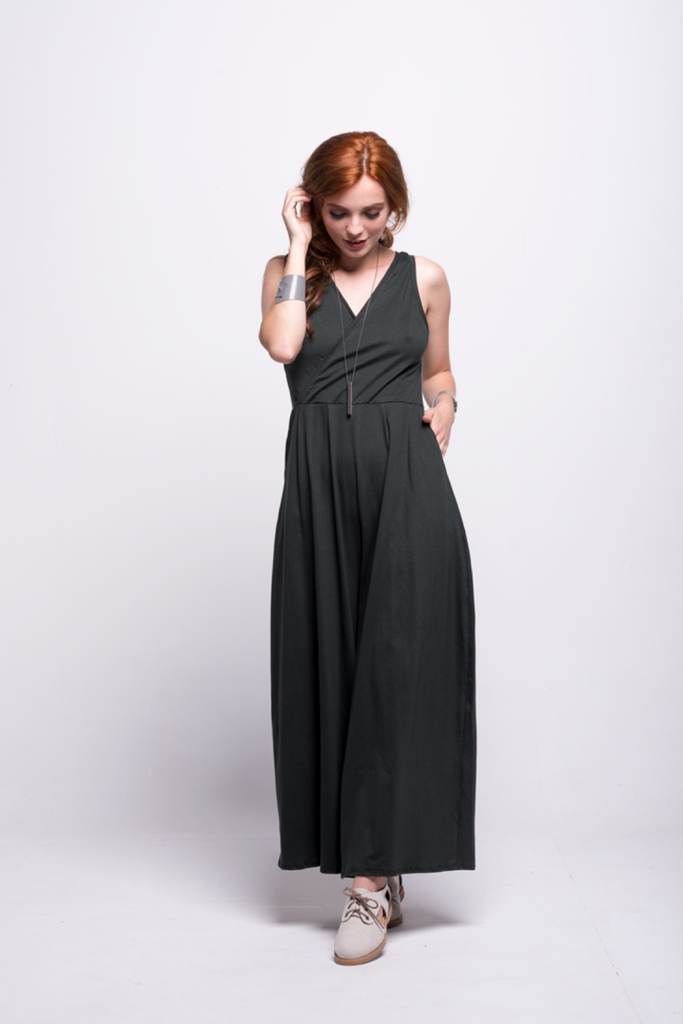 ada_jumpsuit_green_olive_long_v_neck_cut_ana_front