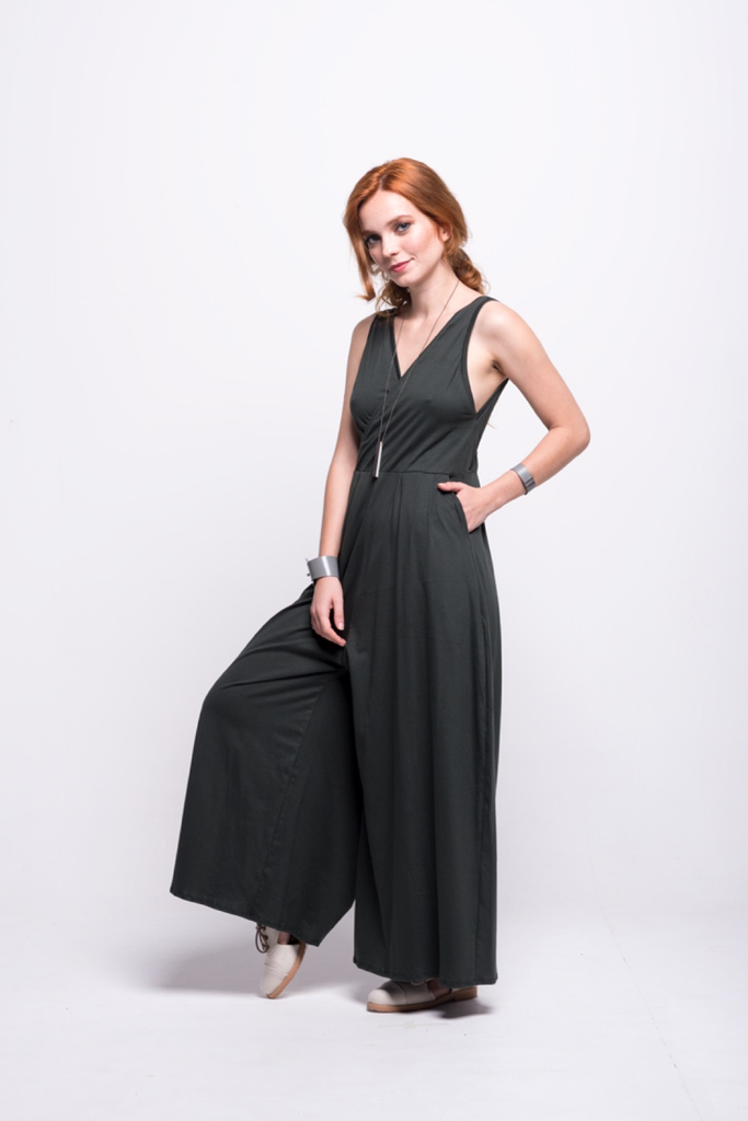 ada_jumpsuit_green_olive_long_v_neck_cut_ana_side
