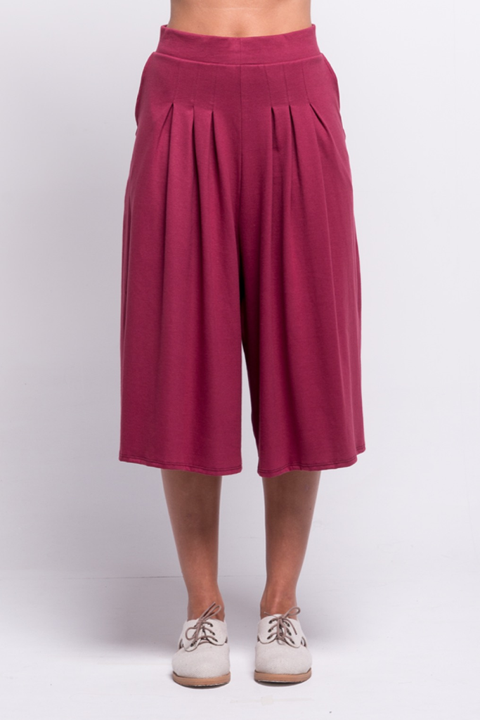 lois culotte pants burgundy ada sustainable organic cotton front
