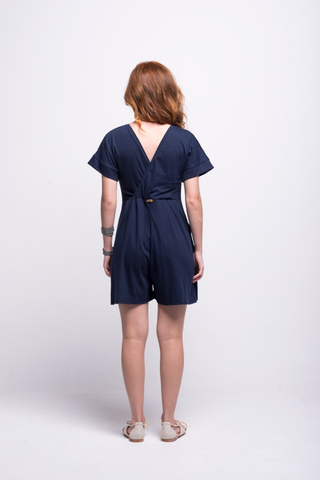sofia jumpsuit navy blue short cotton sustainable back