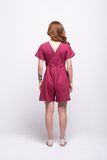 sofia jumpsuit burgundy short cotton sustainable back