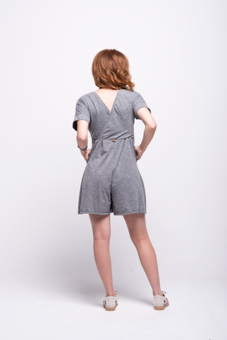 sofia jumpsuit grey short cotton sustainable back