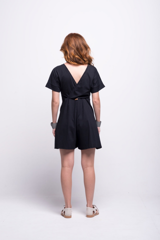 sofia jumpsuit black short cotton sustainable back