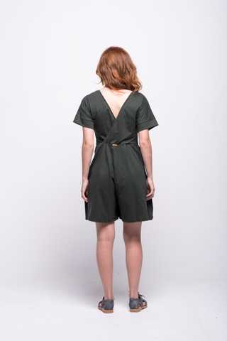 sofia jumpsuit green olive short cotton sustainable back