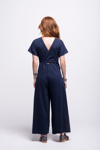 sofia jumpsuit navy blue long cotton sustainable back