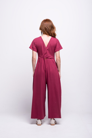 sofia jumpsuit burgundy long cotton sustainable back
