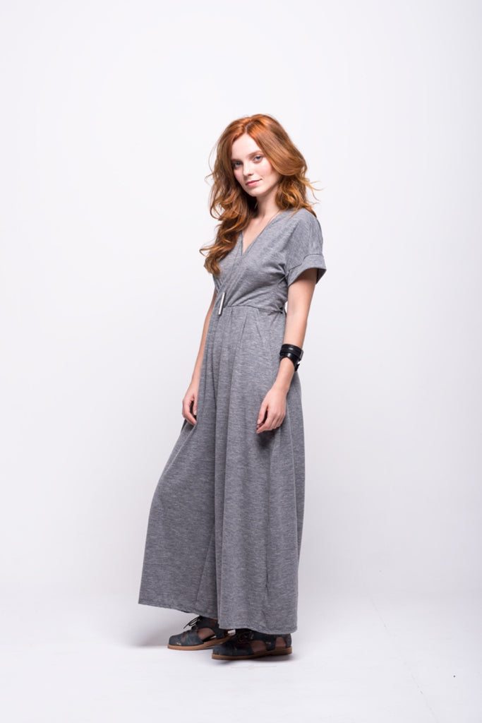 sofia jumpsuit grey long cotton sustainable