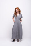 sofia jumpsuit grey long cotton sustainable front