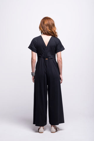 sofia jumpsuit black long cotton sustainable back