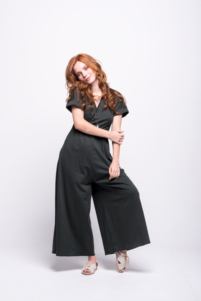 sofia jumpsuit green olive long cotton sustainable front