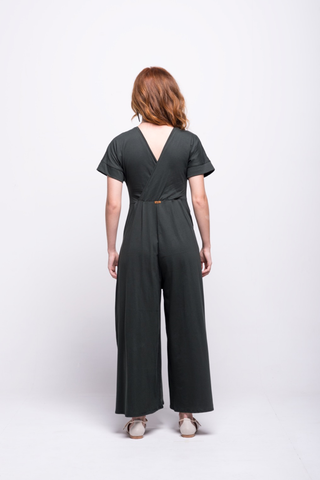 sofia jumpsuit green olive long cotton sustainable back