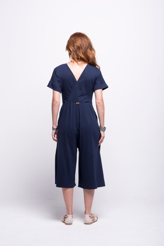 sofia jumpsuit navy blue midi cotton sustainable back