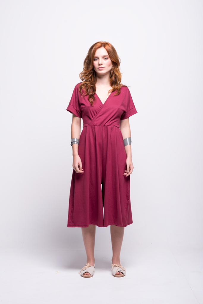 sofia jumpsuit burgundy midi cotton sustainable