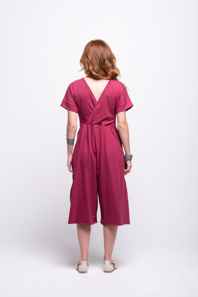 sofia jumpsuit burgundy midi cotton sustainable back