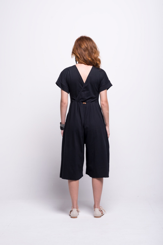 sofia jumpsuit black midi cotton sustainable back