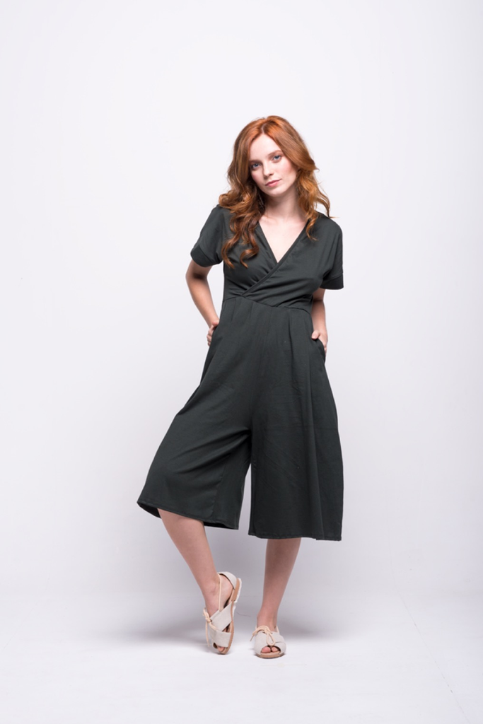 sofia jumpsuit green olive midi cotton sustainable