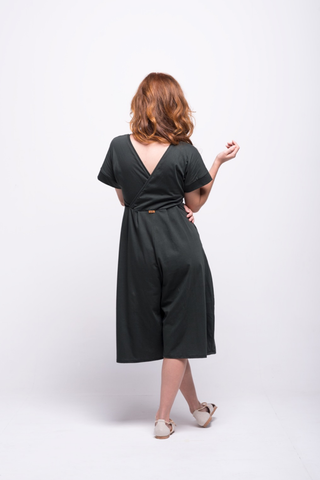 sofia jumpsuit green olive midi cotton sustainable back