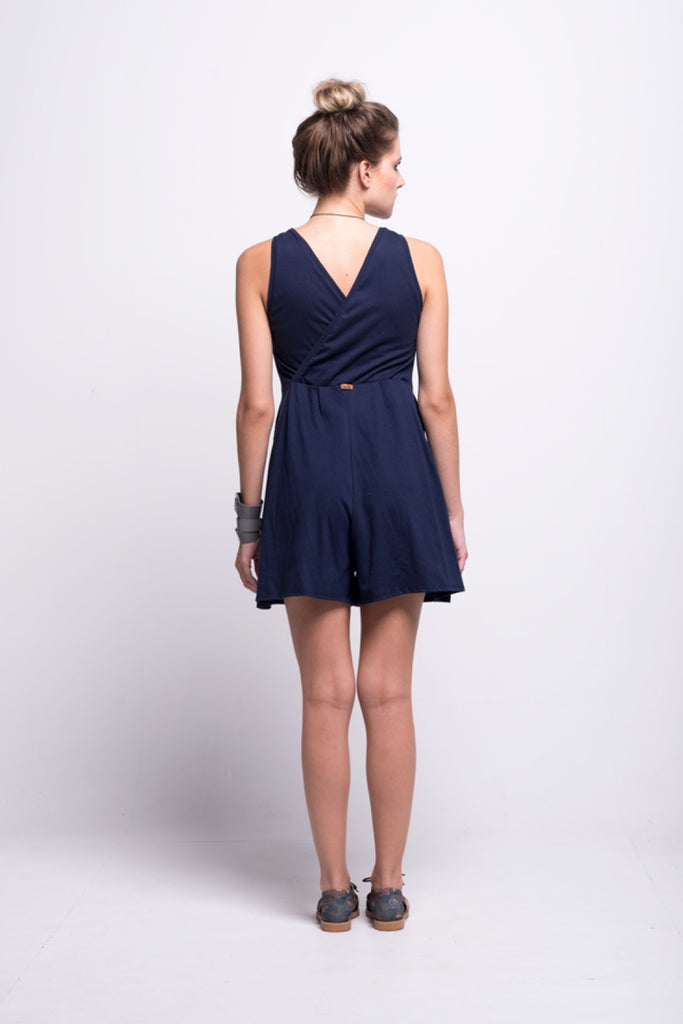 valentina jumpsuit navy blue cotton sustainable organic short back