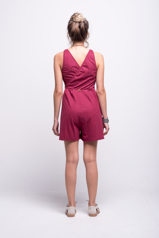 valentina jumpsuit burgundy cotton sustainable organic short back