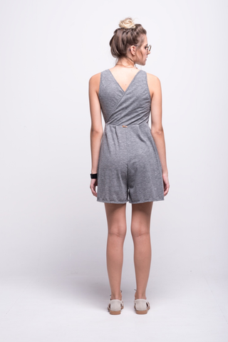 valentina jumpsuit grey cotton sustainable organic short back