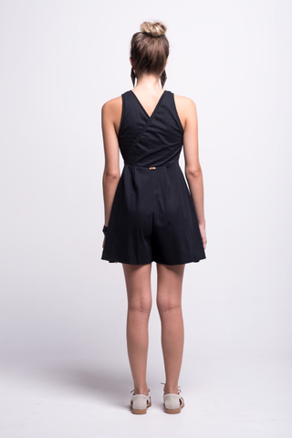 valentina jumpsuit black cotton sustainable organic short back