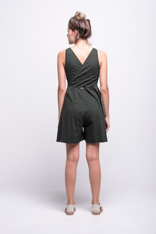 valentina jumpsuit green olive cotton sustainable organic short back