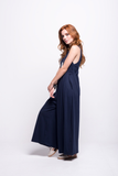 valentina jumpsuit navy blue cotton sustainable organic side