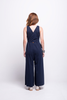 valentina jumpsuit navy blue cotton sustainable organic back