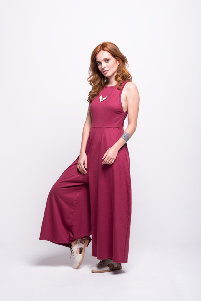 valentina jumpsuit burgundy cotton sustainable organic front