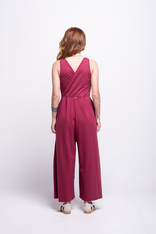 valentina jumpsuit burgundy cotton sustainable organic back