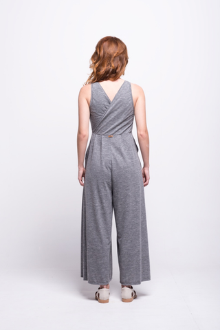 valentina jumpsuit grey cotton sustainable organic back
