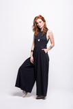 valentina jumpsuit black cotton sustainable organic front