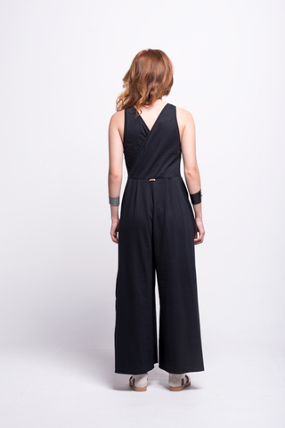 valentina jumpsuit black cotton sustainable organic back