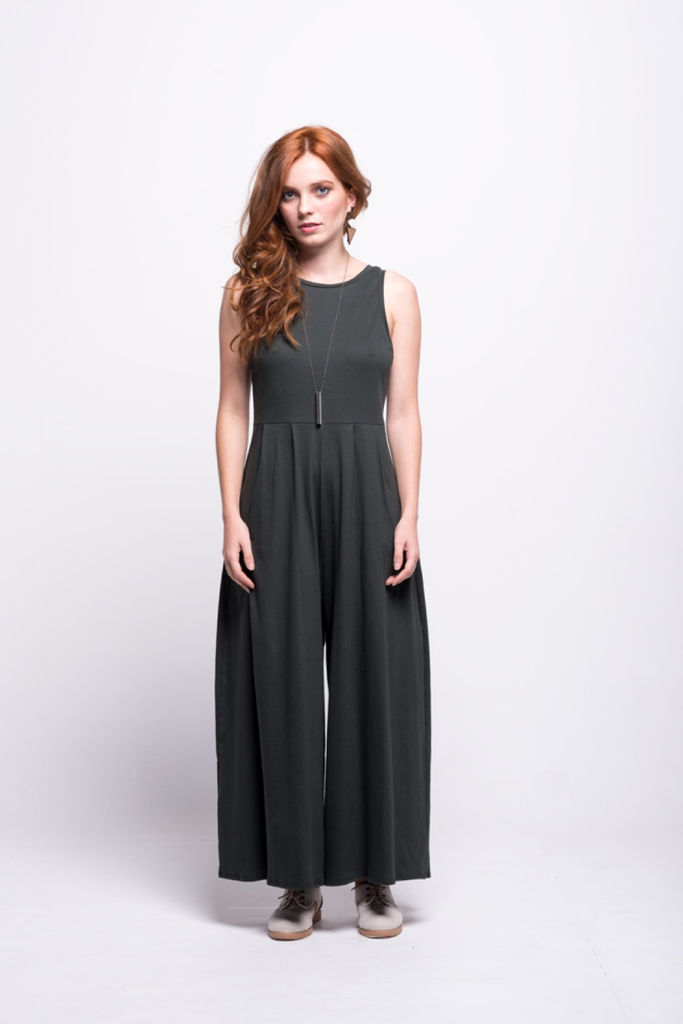 valentina jumpsuit green olive cotton sustainable organic