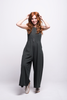 valentina jumpsuit green olive cotton sustainable organic front