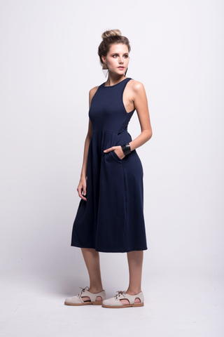 valentina jumpsuit navy blue cotton sustainable organic midi side detail