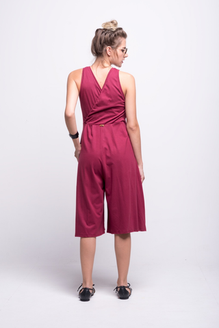 valentina jumpsuit burgundy cotton sustainable organic midi back