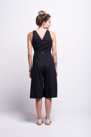valentina jumpsuit black cotton sustainable organic midi back