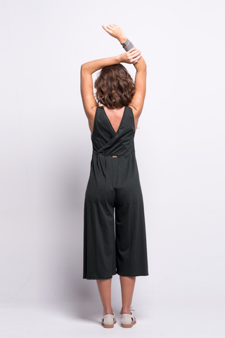 valentina jumpsuit green olive cotton sustainable organic midi back