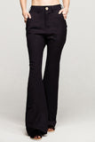 black pants long flare envido sustainable cotton linen front