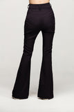 black pants long flare envido sustainable cotton linen back