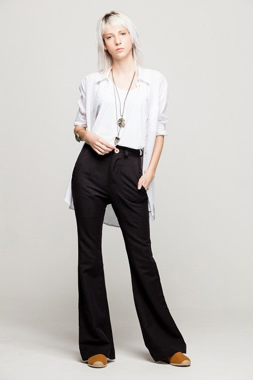 black pants long flare envido sustainable cotton linen on model
