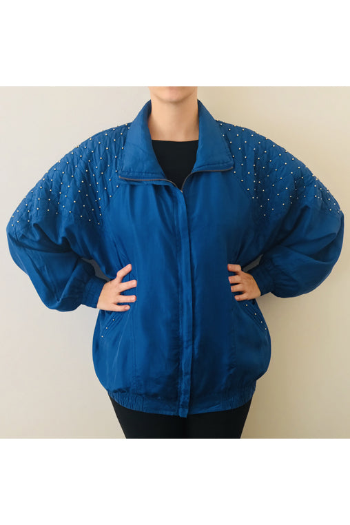 Vintage Blue Silk Jacket