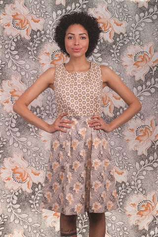 Josephine beige dress shwe patterned cotton sustainable short