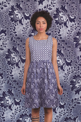 Josephine blue dress shwe patterned cotton sustainable short
