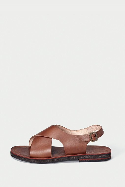 sandals fauna caboclo leather sustainable brown cross side