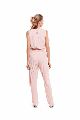 flow quartz jumpsuit rose pink long envido back